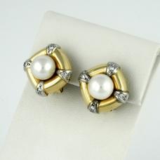 Arany gyöngyös gyémánt fülbevaló (Au154GT)