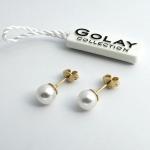 Golay fehér arany fülbevaló gyönggyel (Au502GT)
