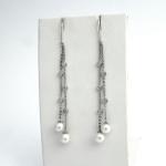 Golay fehér arany gyémánt fülbevaló gyönggyel (Au2303GT)