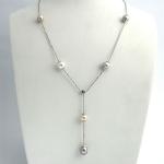 Golay fehér arany gyémánt nyakék gyönggyel (Au2327GT)
