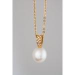 Golay arany gyémánt nyakék gyönggyel (Au500GT)