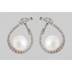 Golay fehér arany gyémánt fülbevaló gyönggyel (Au487GT)