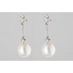 Golay fehér arany gyémánt fülbevaló gyönggyel (Au486GT)