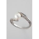 Golay fehér arany gyémánt gyűrű gyönggyel (Au490GT)
