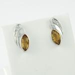 Arany gyémánt fülbevaló citrinnel (Au1460GT)