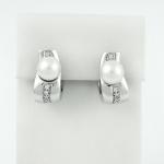 Fehér arany gyémánt gyöngyös fülbevaló (Au24GT)
