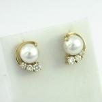 Arany gyémánt fülbevaló gyönggyel (Au244GT)