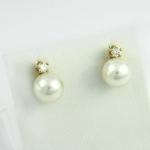 Arany gyémánt fülbevaló gyönggyel (Au817GT)