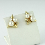 Arany gyöngyös gyémánt fülbevaló (Au1482GT)